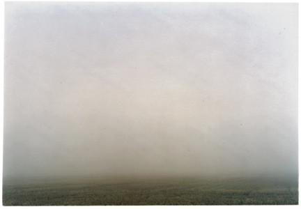 A set of photographs that followed a straight line. The images would go through, over and under what ever came in the path of the camera's lens: fog, foggy field, landscape.