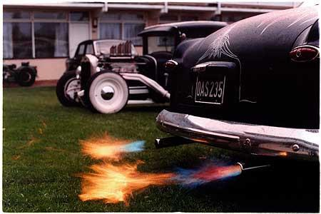Lynn's Shoebox Ford with flame throwers, Norfolk 2003