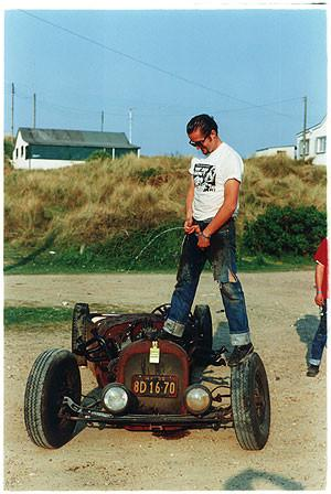 Tim christening his hot rod, Norfolk 2000