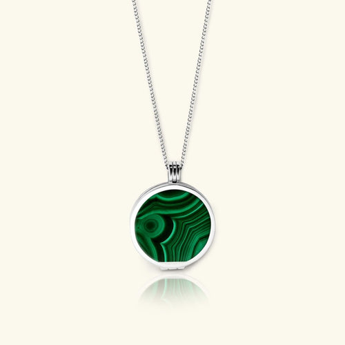Aurora Locket Necklace – Green Malachite Gemstone - digital lockets by evermée