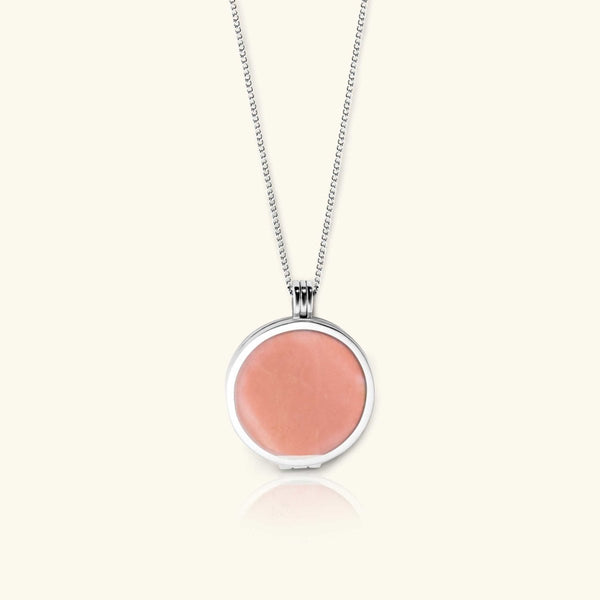Load image into Gallery viewer, Morning Cloud Necklace – Pink Opal Gemstone - digital lockets by evermée