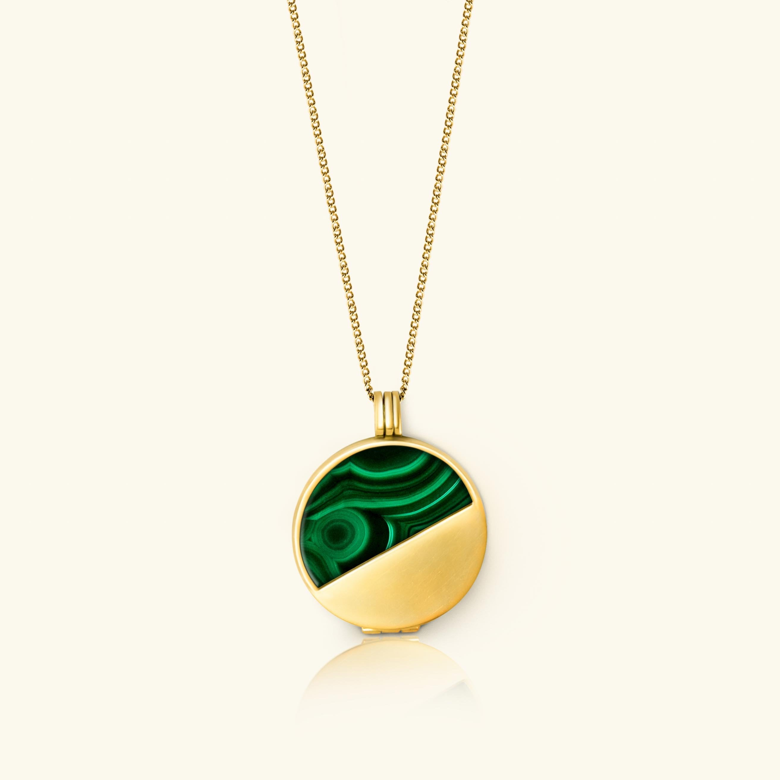 green malachite Half Moon Locket 18 carat gold