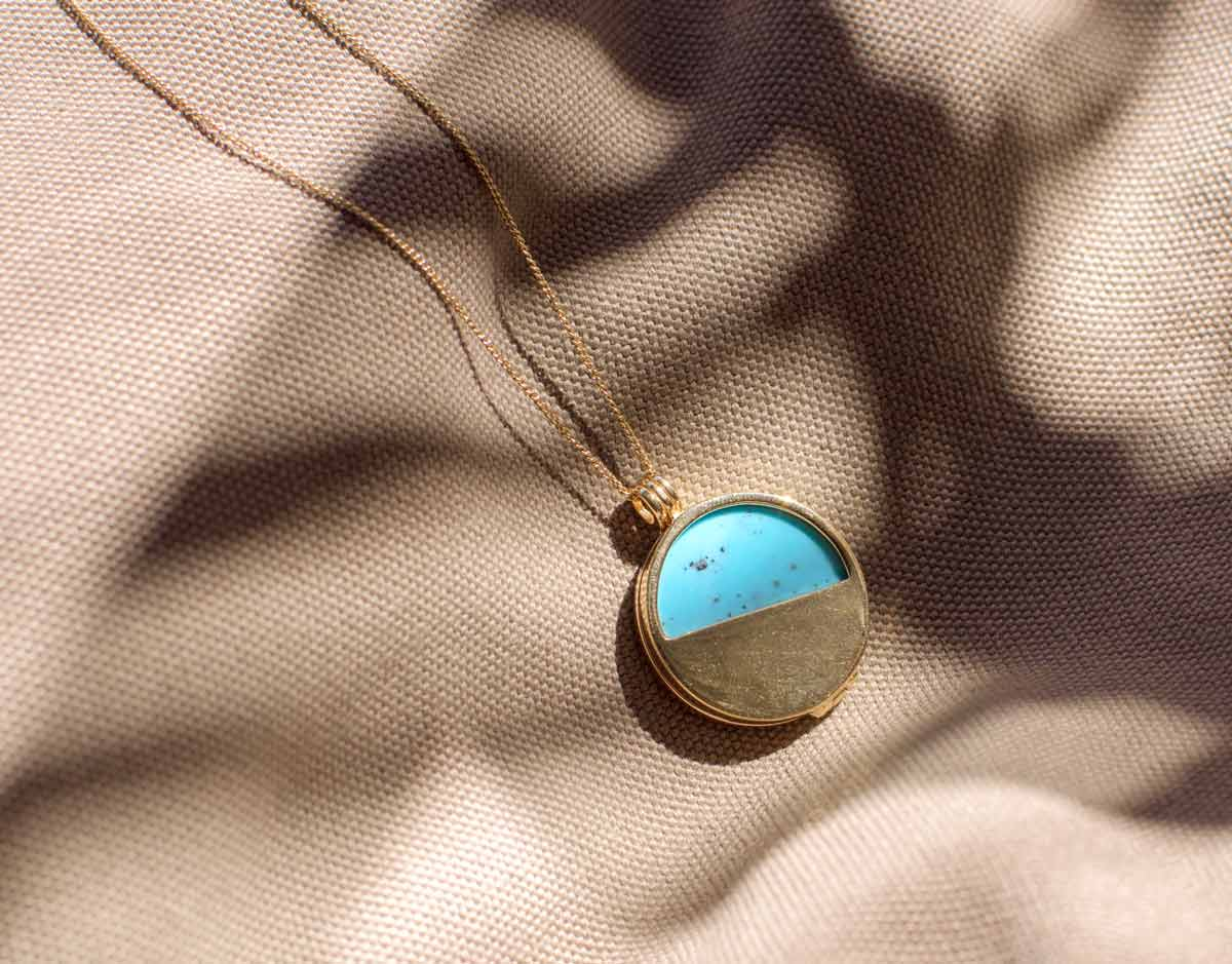 turquoise gemstone gold vermeil locket