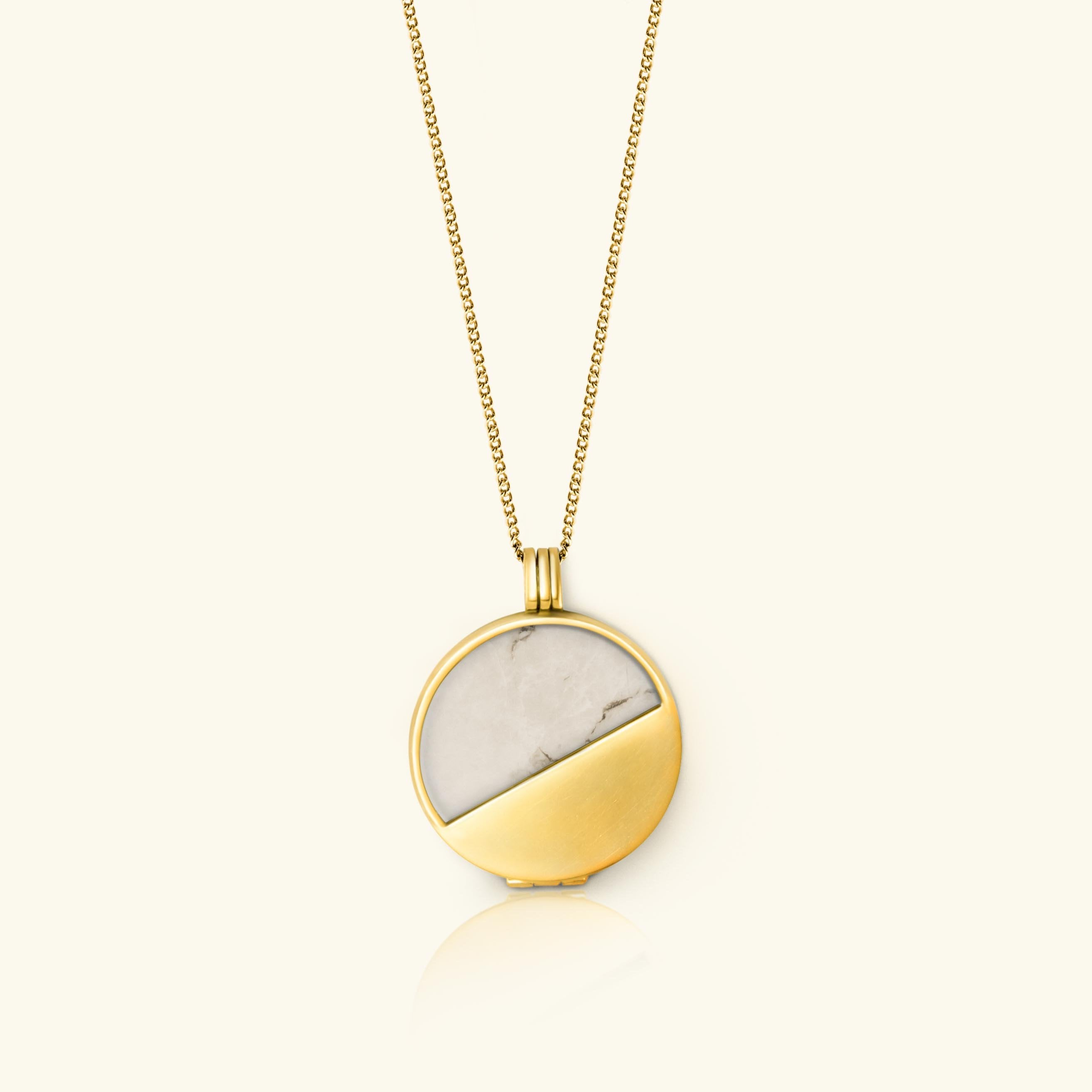 Howlite Half Moon Locket 18 carat gold