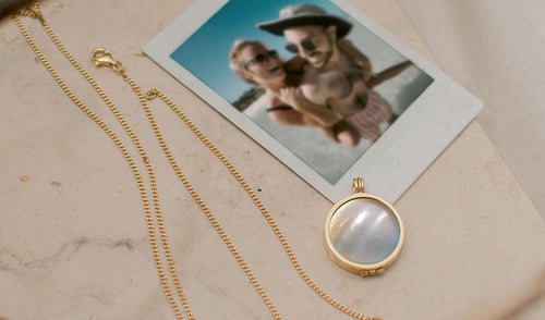 mother of pearl gemstone Photo Locket  Necklace