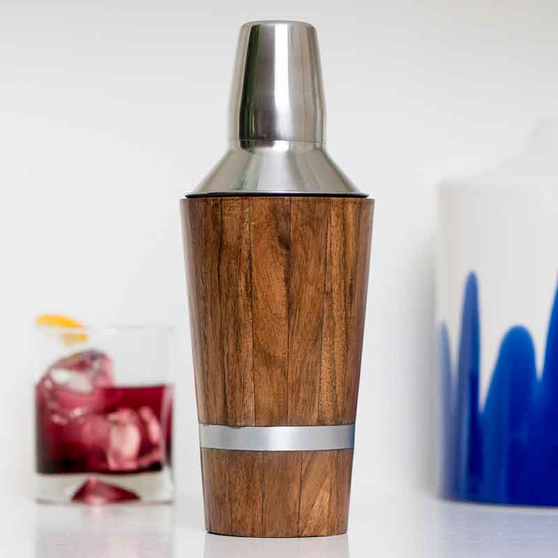 Wood Inlay Cocktail Shaker