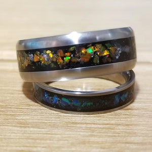Custom Titanium Ring - (keepsakes, pet memorials, captured carbon, mineral, opal, glow, and more) man ring men's ring titanium ring IPI Creations