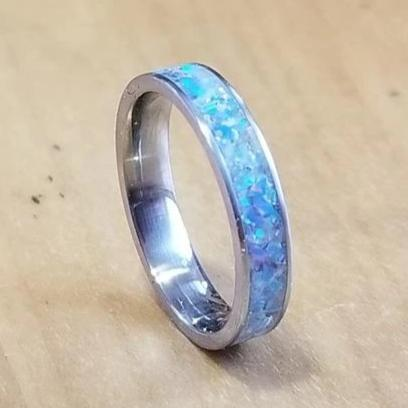 Custom Titanium Ring - Narrow Band (keepsakes, pet memorials, captured carbon, mineral, opal, glow, and more) IPI Creations, made in Canada