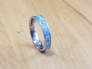 Custom Titanium Ring (mineral, opal, and glow)