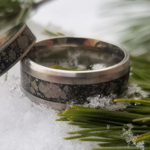Custom Titanium Ring - (keepsakes, pet memorials, captured carbon, mineral, opal, glow, and more) man ring men's ring titanium ring IPI Creations couples rings