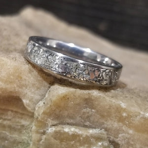 Custom Titanium Ring - Narrow Band (keepsakes, pet memorials, silver, captured carbon, mineral, opal, glow, and more) IPI Creations, made in Canada