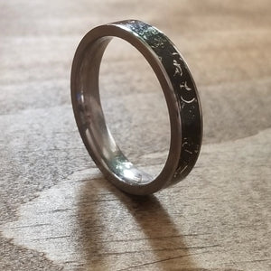 Captured carbon ring, silver and titanium ring, eco friendly environmentally beneficial, made in Canada, eco jewelry, better than a Wood Ring. Black Ring. IPI Creations