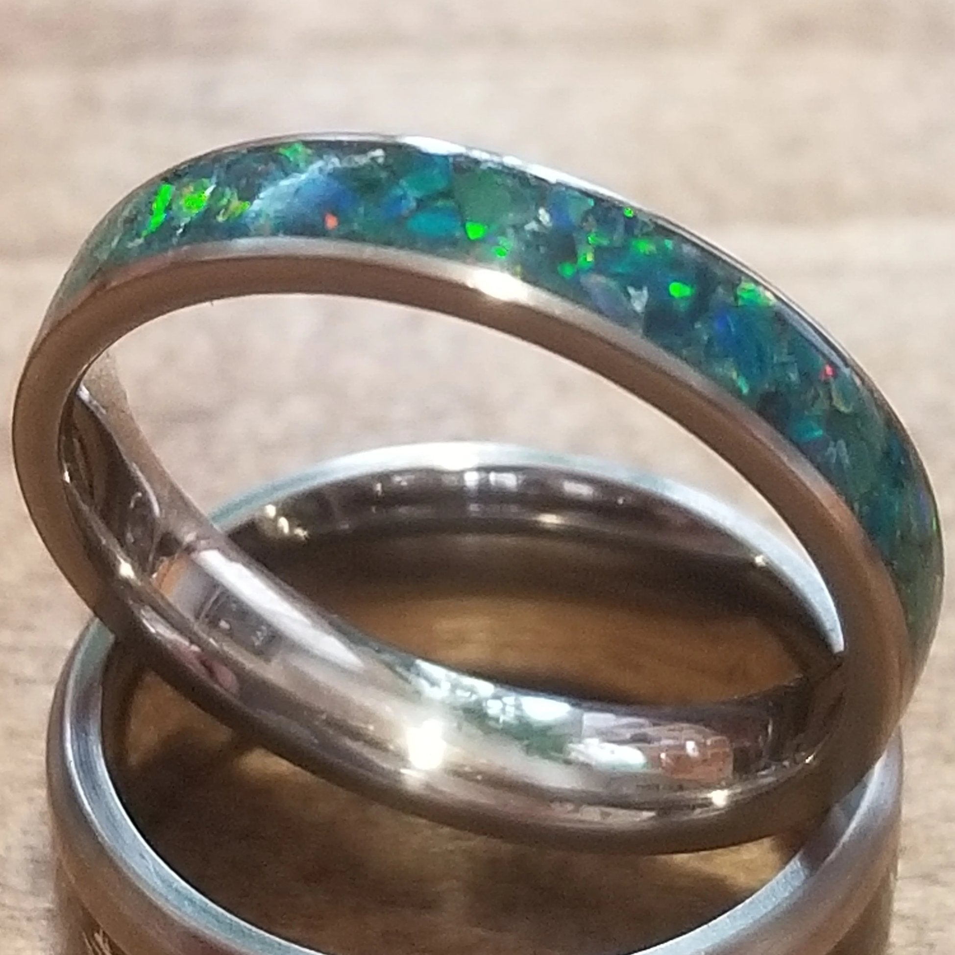Custom Titanium Ring - Narrow Band (keepsakes, pet memorials, silver, captured carbon, mineral, opal, glow, and more) IPI Creations, made in Canada, BLUE blue