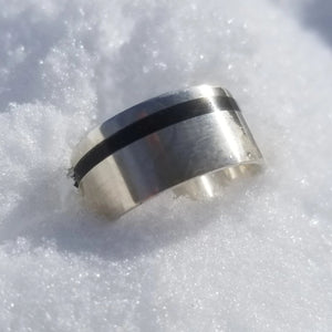 Captured carbon, silver ring, eco friendly environmentally beneficial, made in Canada, eco jewelry, better than a Wood Ring. IPI Creations
