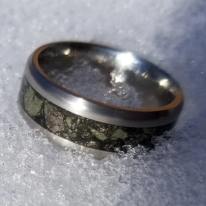 Custom Titanium Ring - (keepsakes, pet memorials, captured carbon, mineral, opal, glow, and more) man ring men's ring titanium ring IPI Creations couples rings ecogeo ring geologist