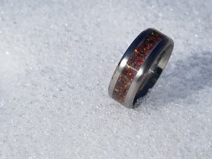 Custom men's and women's titanium promise ring, wedding ring, glow ring, anniversary ring, opal ring. IPI Creations