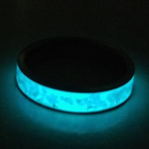 Custom Titanium Ring - Narrow Band (keepsakes, pet memorials, silver, captured carbon, mineral, opal, glow, and more) IPI Creations, made in Canada, BLUE blue glow