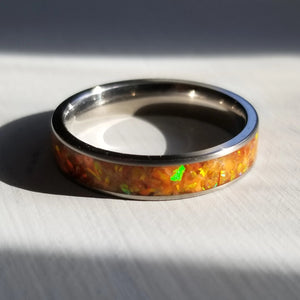 Custom Titanium Ring - Narrow Band (keepsakes, pet memorials, silver, captured carbon, mineral, opal, glow, and more) IPI Creations, made in Canada, orange ORANGE ring