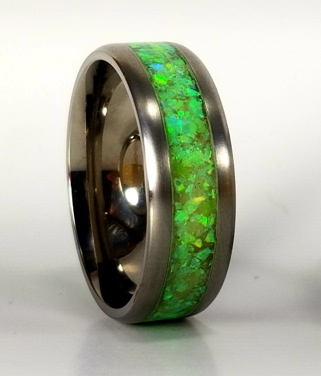 Green Flubber St. Patrick's Day Custom men's and women's titanium promise ring, wedding ring, glow ring, anniversary ring, opal ring. IPI Creations