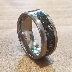 Captured carbon ring, silver and titanium ring, eco friendly environmentally beneficial, made in Canada, eco jewelry, better than a Wood Ring. Black Ring. IPI Creations Man ring, men's ring