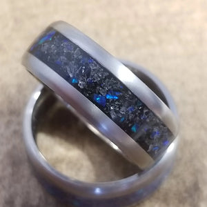 Custom blue captured carbon amethyst men's wedding ring IPI Creations