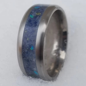 Custom blue men's titanium promise ring IPI Creations