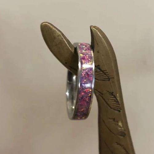 Custom Titanium Ring - Narrow Band (keepsakes, pet memorials, silver, captured carbon, mineral, opal, glow, and more) IPI Creations, made in Canada, PURPLE purple