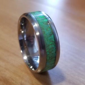 Green Glow Flubber St. Patrick's Day custom men's titanium ring IPI Creations