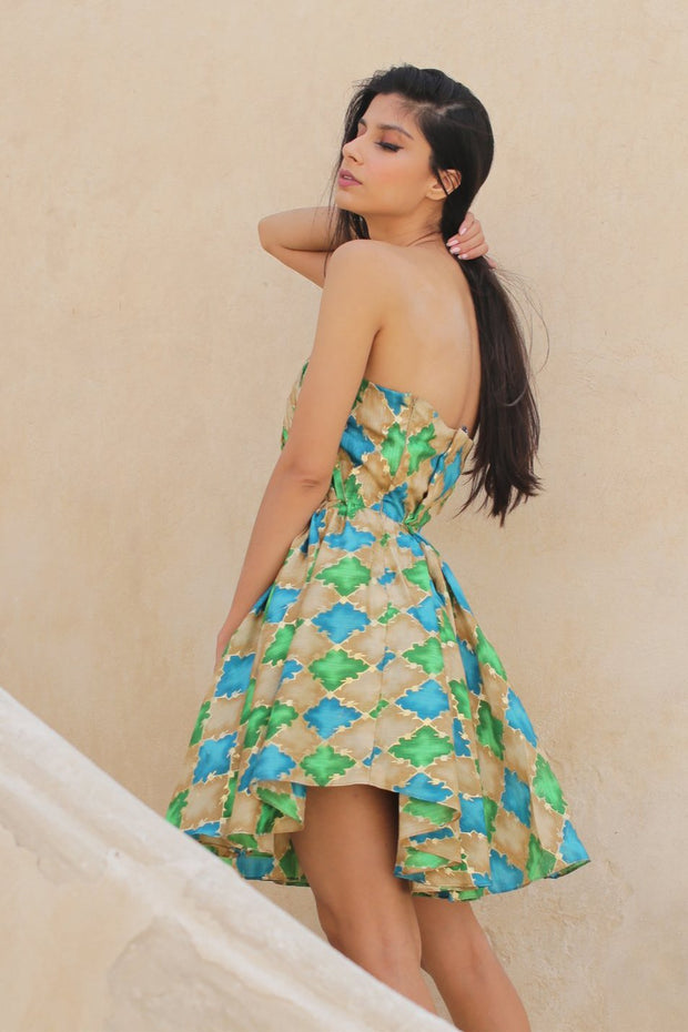 Green Geometric Print Flowy Cocktail dress