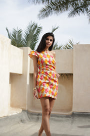Orange Peach Geometry Printed fitted Cocktail Dress