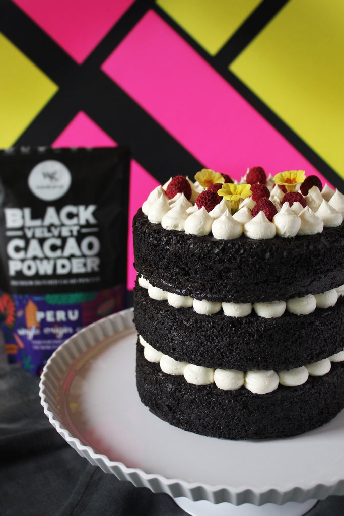 Black Velvet Cake with American Buttercream