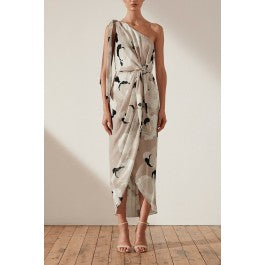 Flora Tie Front One Shoulder Draped