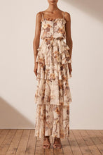 Load image into Gallery viewer, Marquis Tiered Maxi Dress - Ivory/Multi