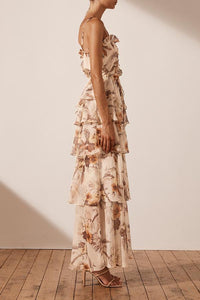 Marquis Tiered Maxi Dress - Ivory/Multi