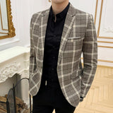 Classic Plaid Single Breasted Style Men Slim Fit Blazer