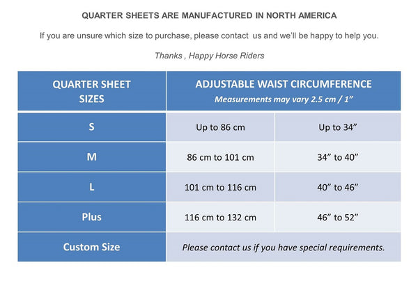 Size Guide Quarter Sheets