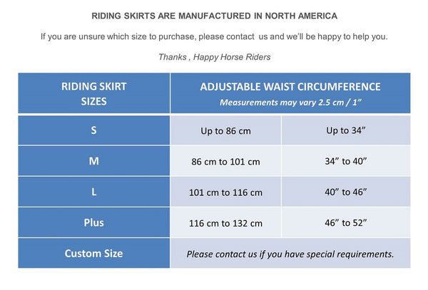 Size Guide Riding Skirts