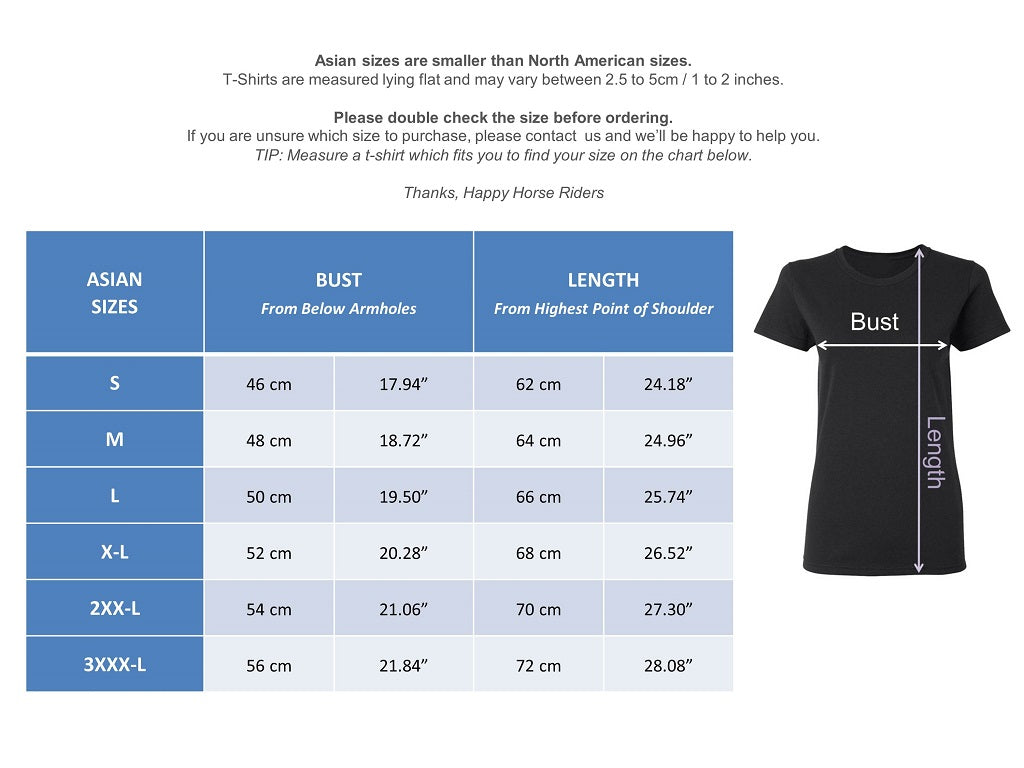 Size Guide Equestrian T-Shirts