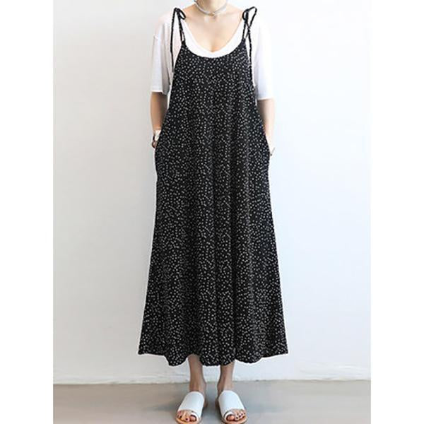 Women Loose Dot Spaghetti Strap Jumpsuit