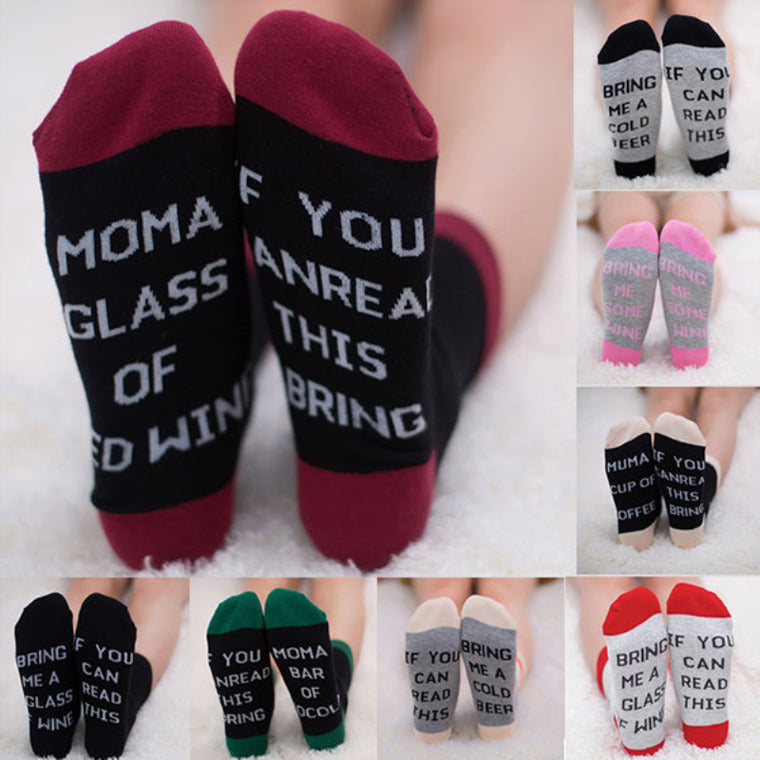 Women Mens If You Can Read This Cotton Socks Casual Funny Middle Tube Sock