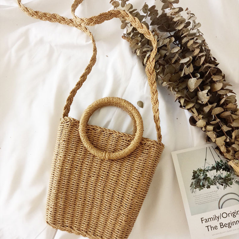 Simple Casual Beach Vacation Straw Bag