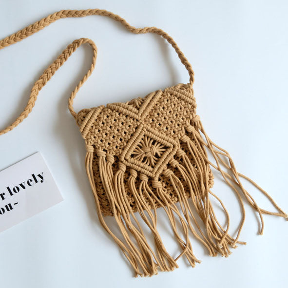 Bohemian fringed woven small square bag diagonal package