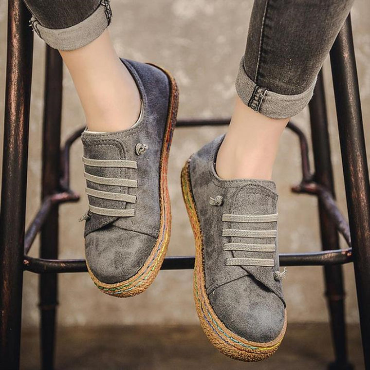 Soft Suede Lace-Up Round Toe Casual Sneakers