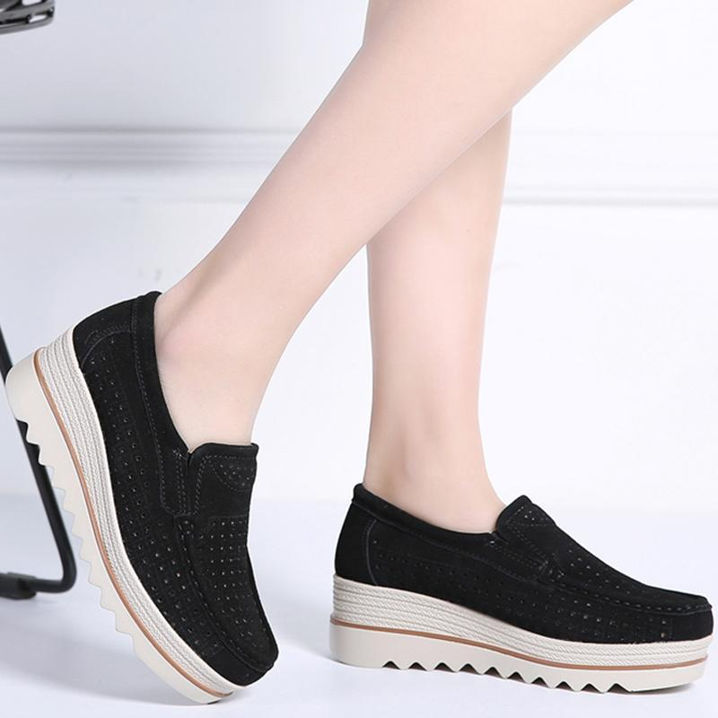 Summer women flats shoes platform sneakers shoes leather suede cutout casual shoes slip on flats creepers moccasins