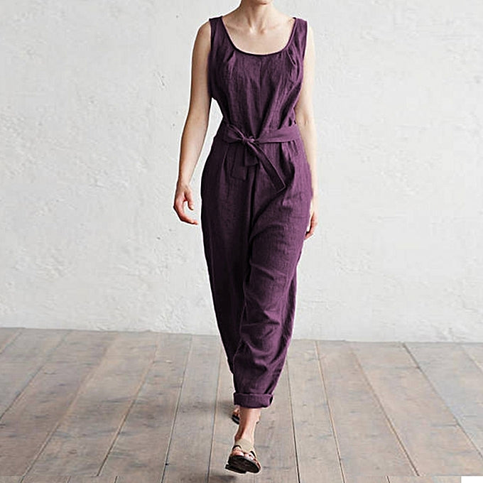 Sleeveless vest high waist cotton casual jumpsuit trousers