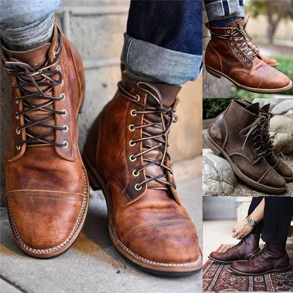 Men Vintage Leather Ankle Boots