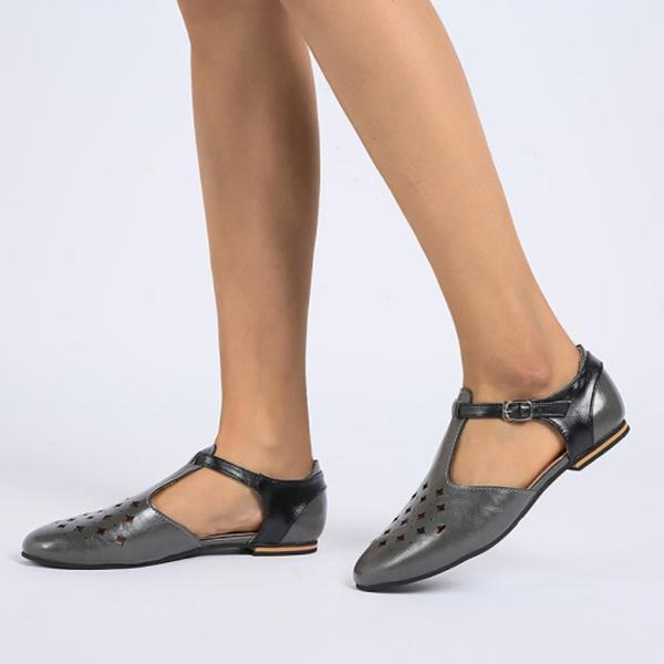 Color Block Hollow Out Flat Round Toe Casual Comfort Flats