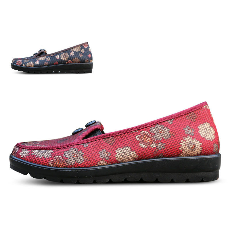 Shallow Mouth Flat With Floral Mother Shoes