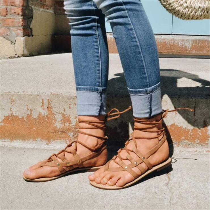 Gladiator Sandals Flip Fops Pu Flat Heel Sandals
