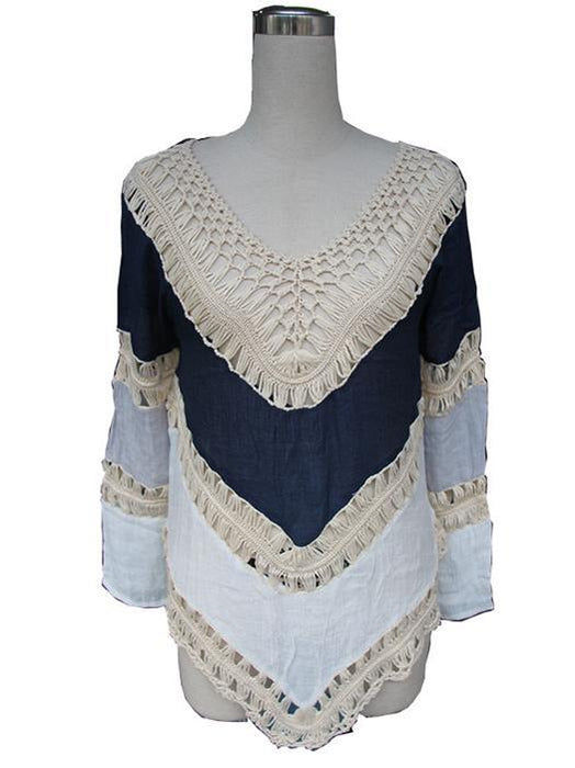 New Long Sleeve Lace Knitwear Pullover Crochet Blouse